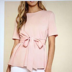 Blush Pink Short Sleeve Self Tie Blouse